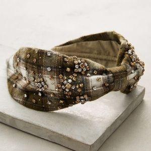 Plaid Wool Crystal Rhinestone Wise Turban Headband